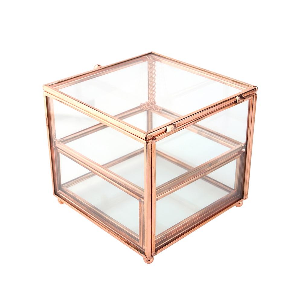 目喜生活 | 玫瑰金雙層飾品收納玻璃盒