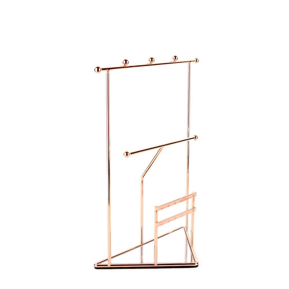 目喜生活 玫瑰金三角鏡面飾品掛架