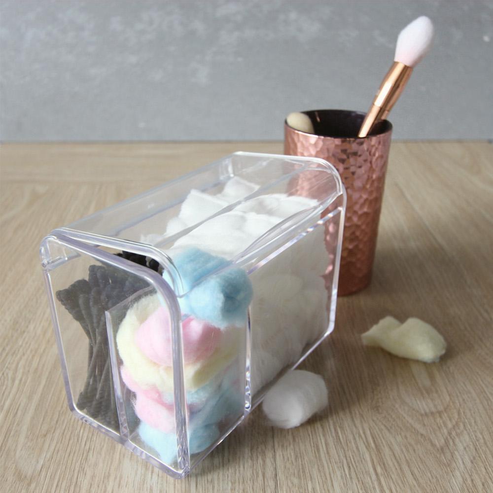 目喜生活   防塵翻蓋化妝棉花棒收納盒