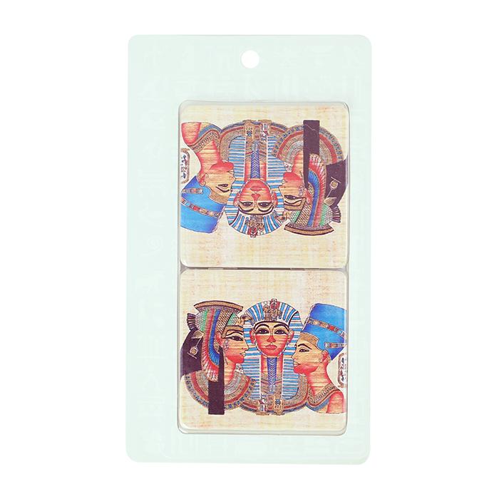 拾藝術 大英埃及展 雙面方鏡  三神頭像(法老)
