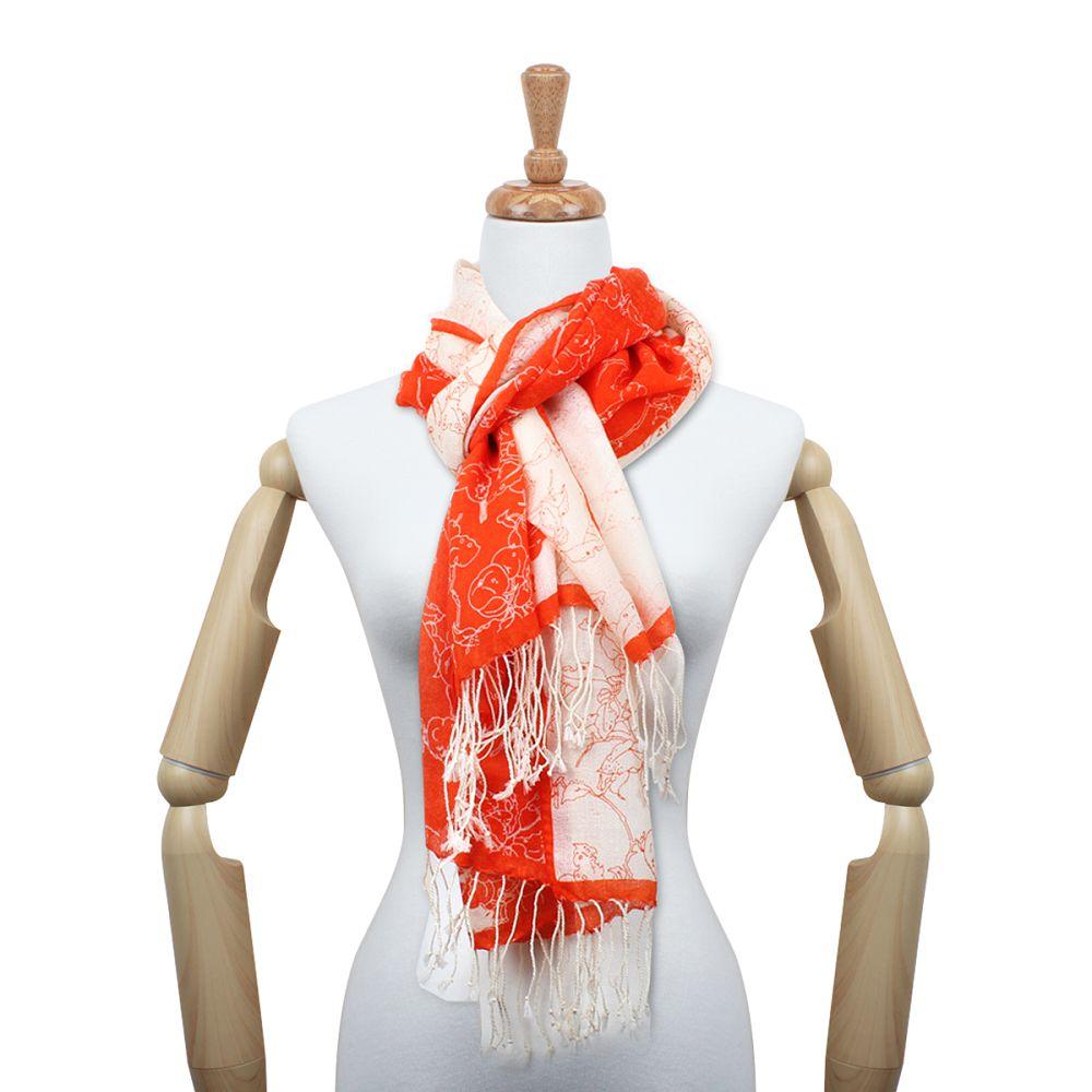 故宮精品|蘋婆山鳥羊毛圍巾 (橘)