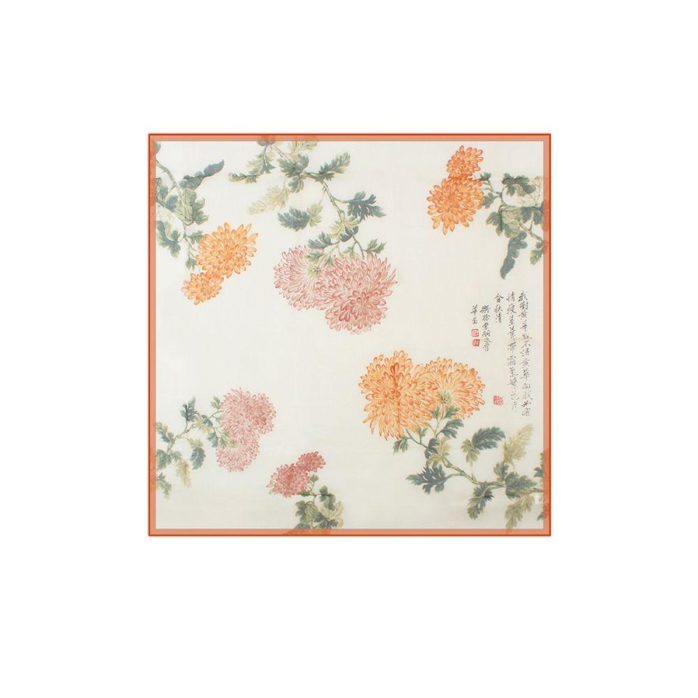 故宮精品|小菊花絲巾 (橘)
