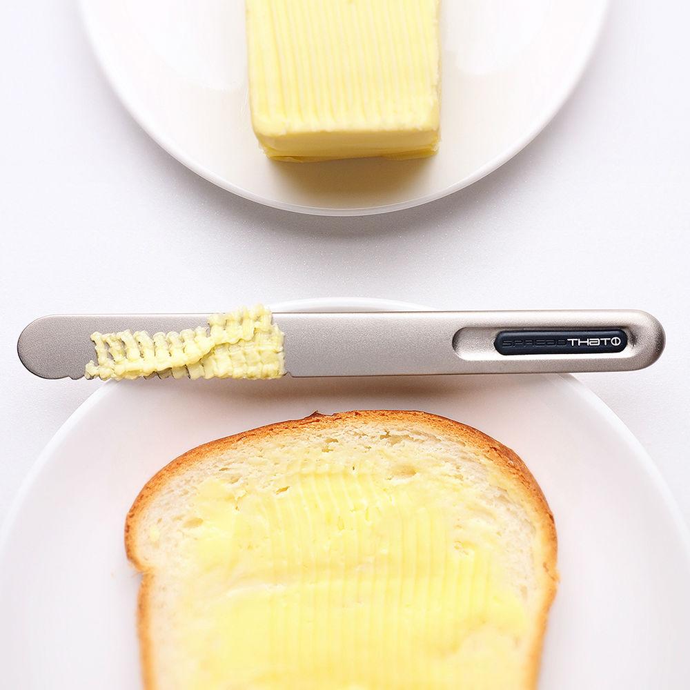奇想THAT!|奶油刀-波浪款(鈦黑紅logo)
