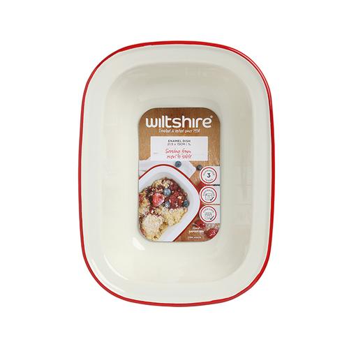 Wiltshire |澳洲ENAMEL琺瑯手工方形烤盤-1000ml-紅