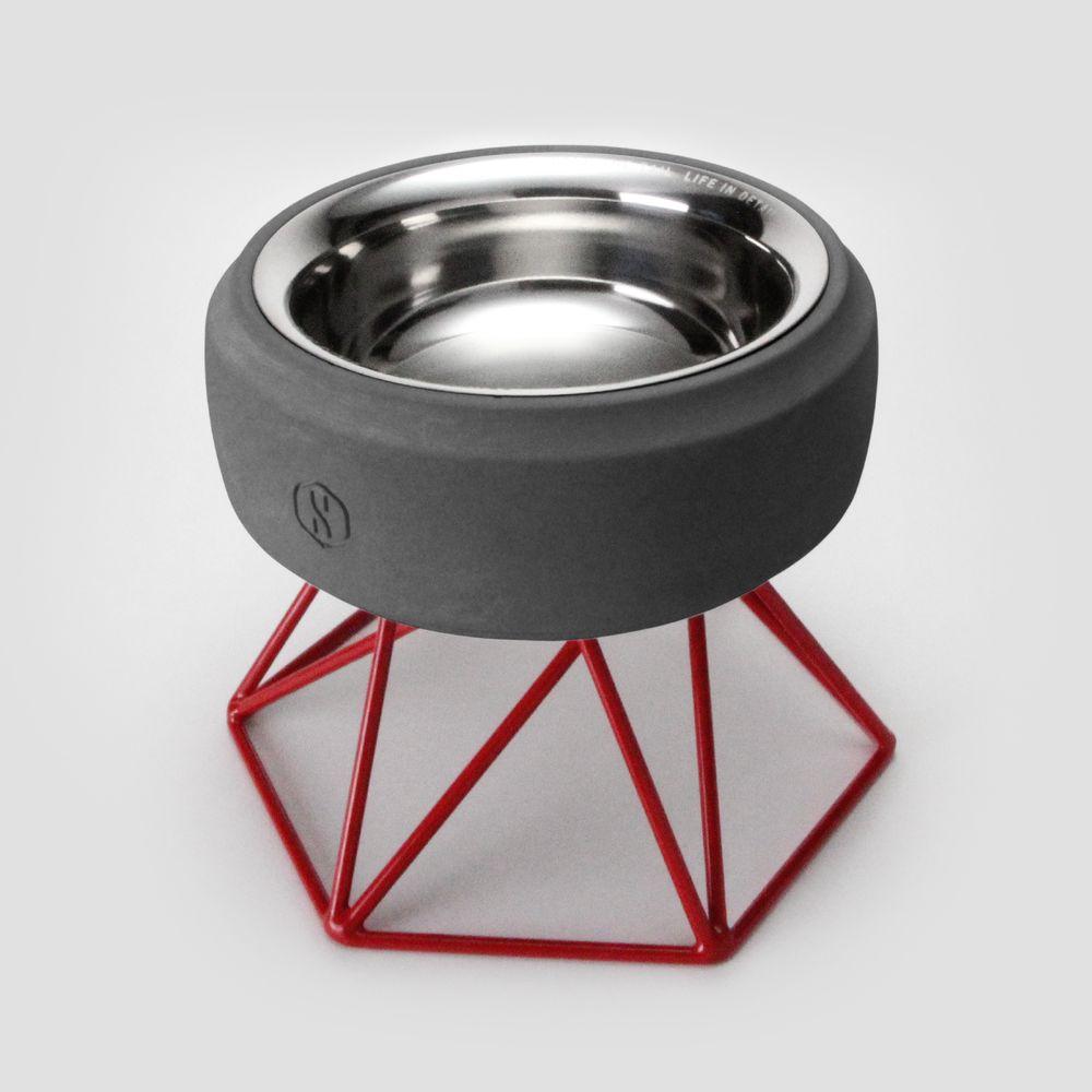 SPUTNIK︱COZY寵物碗 - 黑水泥 (M1) / 紅架