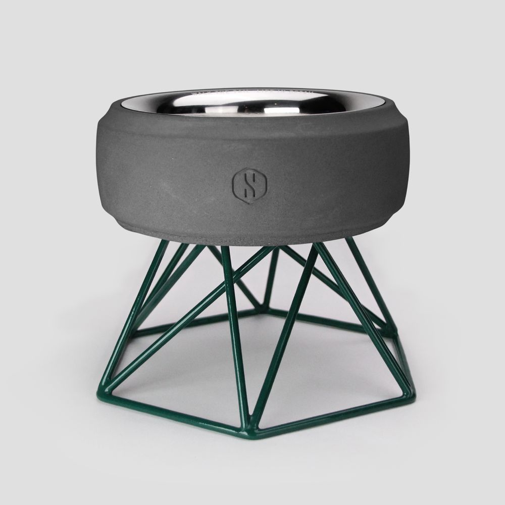 SPUTNIK︱COZY寵物碗 - 黑水泥 (M1) / 綠架