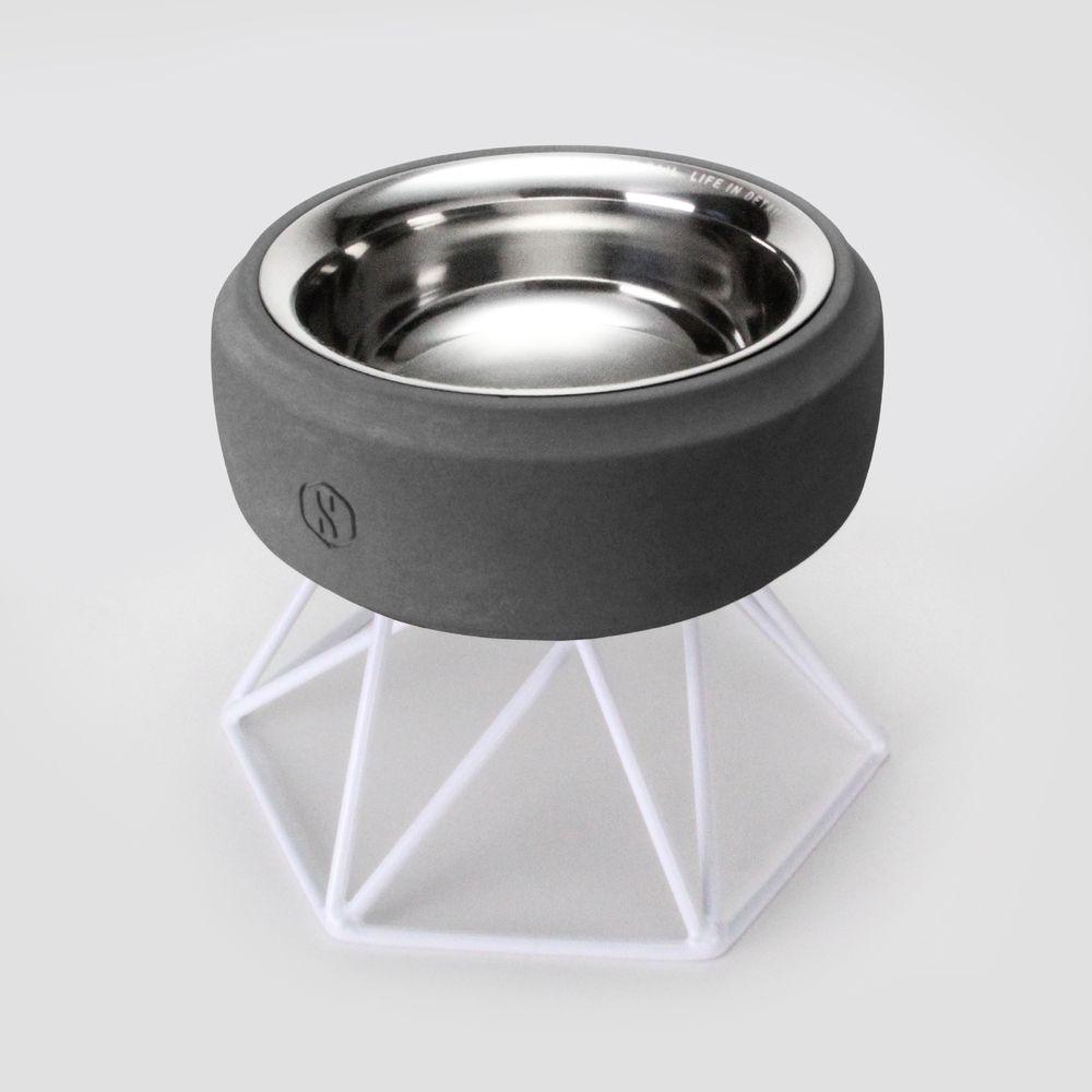 SPUTNIK︱COZY寵物碗 - 黑水泥 (M1) / 白架