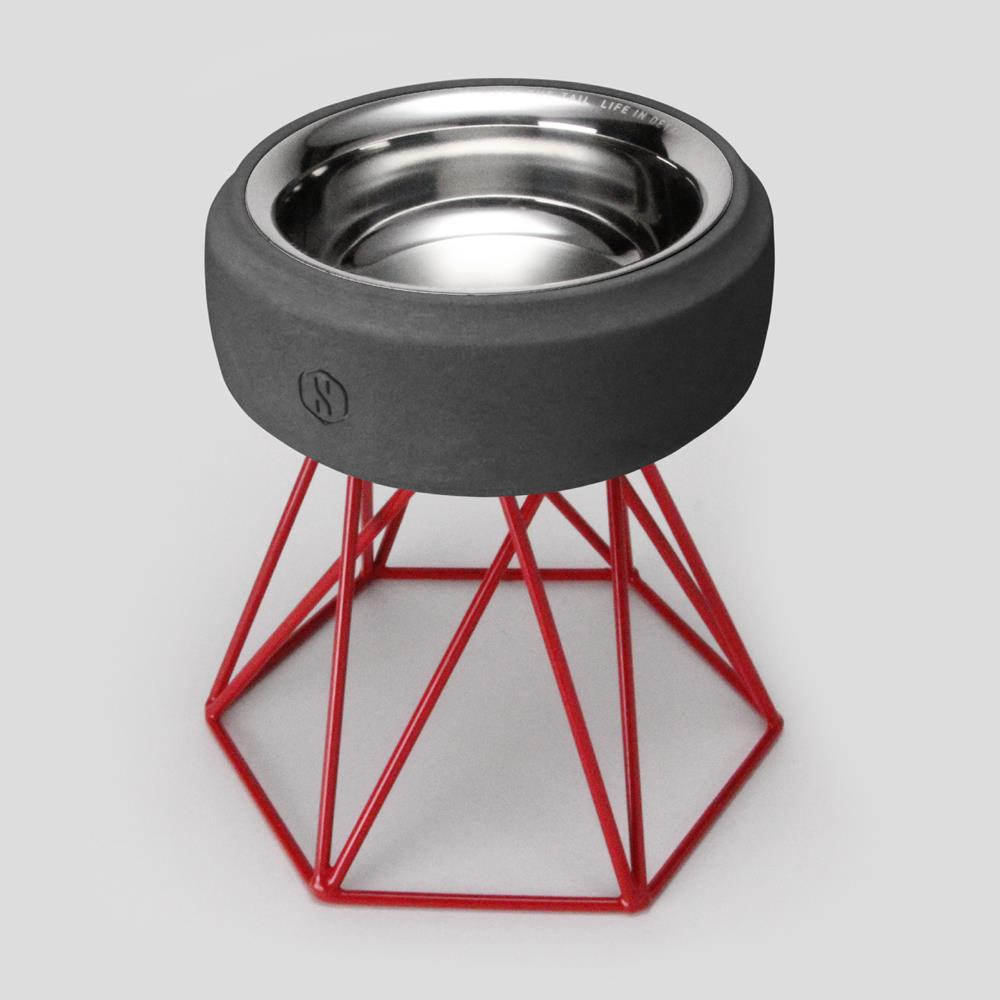 SPUTNIK︱COZY寵物碗 - 黑水泥 (M2) / 紅架