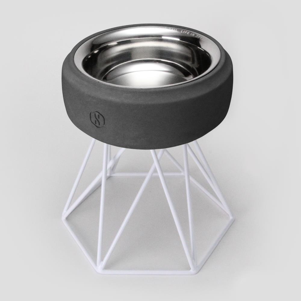 SPUTNIK︱COZY寵物碗 - 黑水泥 (M2) / 白架