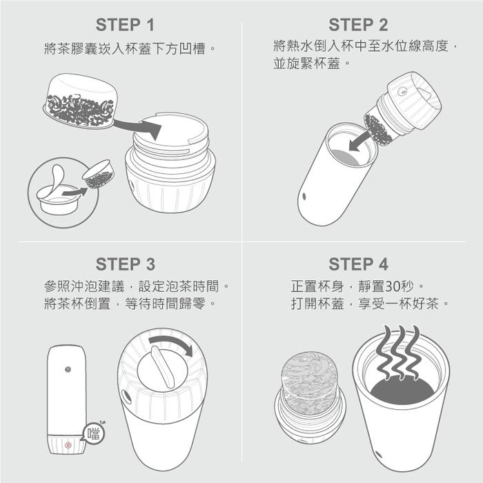 有甘田計時泡茶隨行保溫杯使用步驟