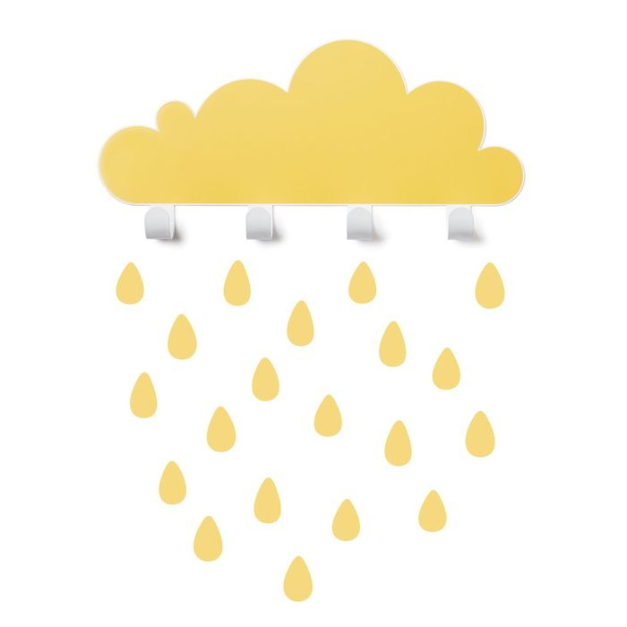 西班牙 Tresxics 大雲朵小雨滴掛勾(黃)