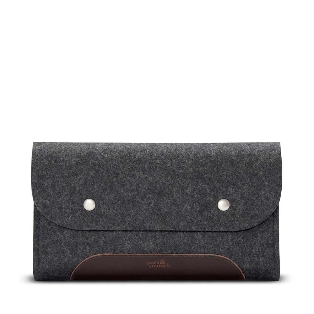 Pack & Smooch|羊毛氈真皮多功能收納袋 (黑灰/深棕)