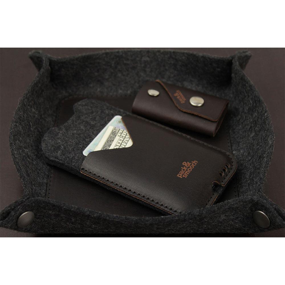 Pack & Smooch|Kirkby iPhone 6/6s/7 Plus 手工製天然羊毛氈皮革保護套 (碳黑/深棕)