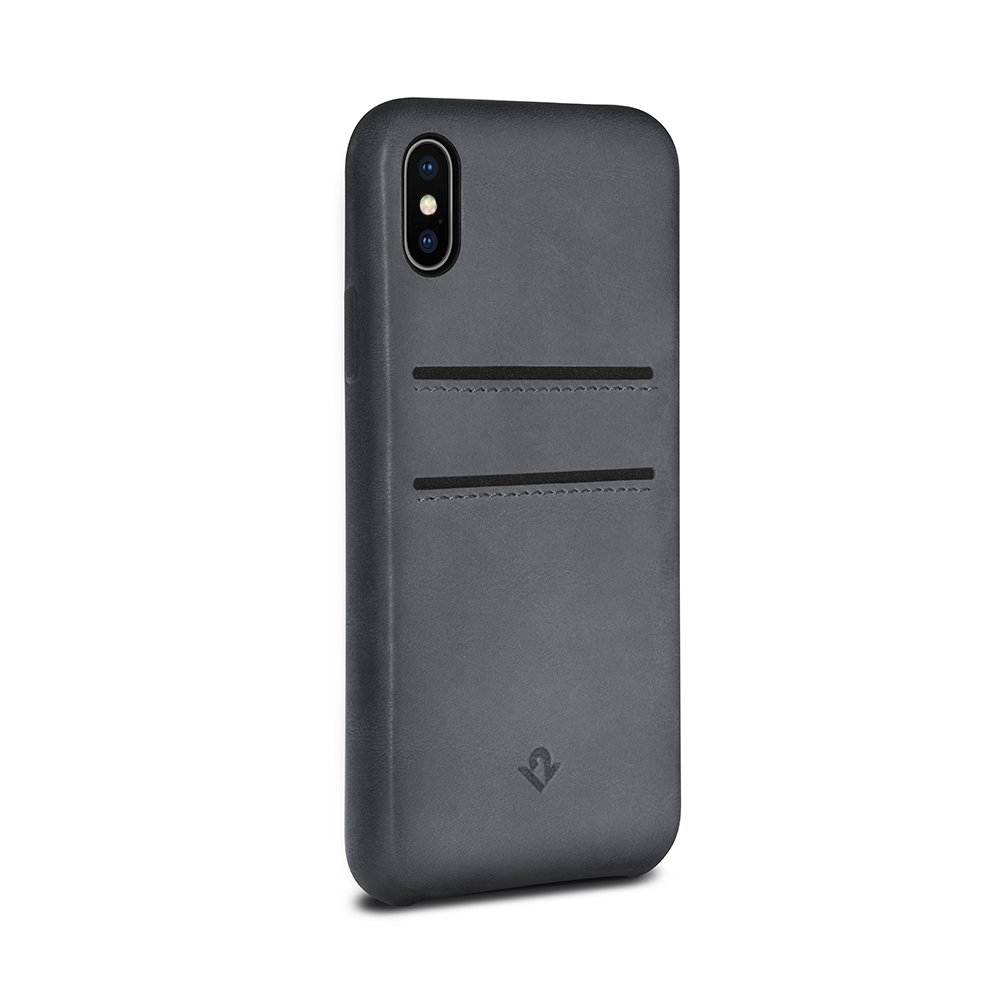 Twelve South|Relaxed Leather iPhone X 卡夾皮革保護背蓋(伯爵灰)