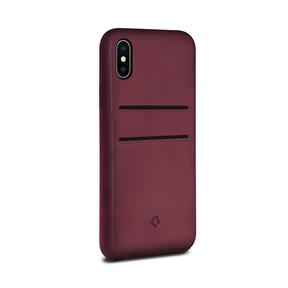 Twelve South|Relaxed Leather iPhone X 卡夾皮革保護背蓋(馬薩拉酒紅)