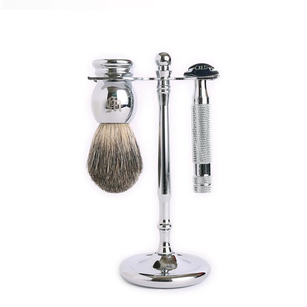 Grand Manner|特務系列 雙刃安全刮鬍刀套組(銀)