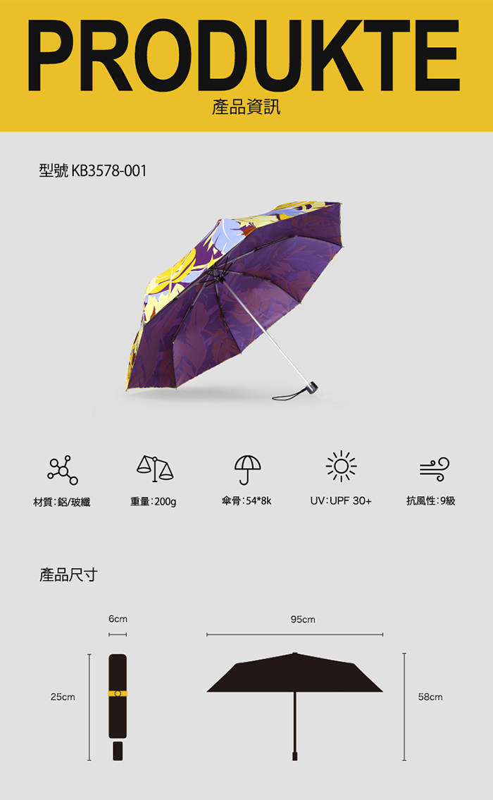 (複製)德國kobold|抗UV-Lotus叢林-防潑水紫膠遮陽傘-三折傘-綠