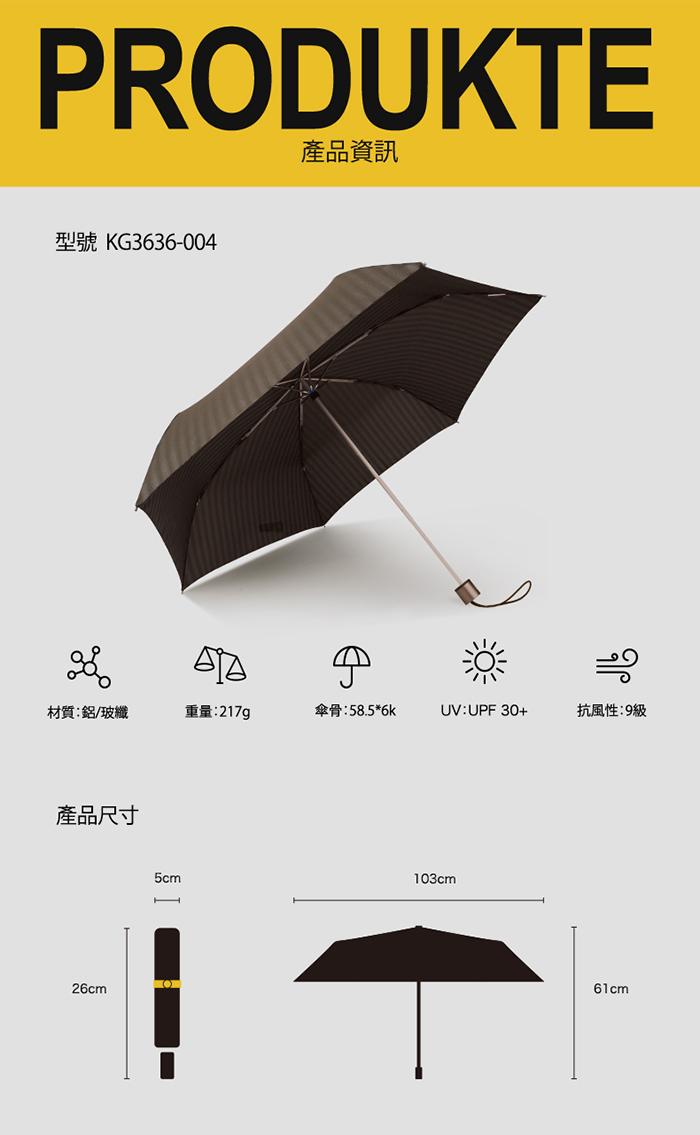 (複製)德國kobold|抗UV-經典條紋-超輕男士商務晴雨傘-三折傘-藍