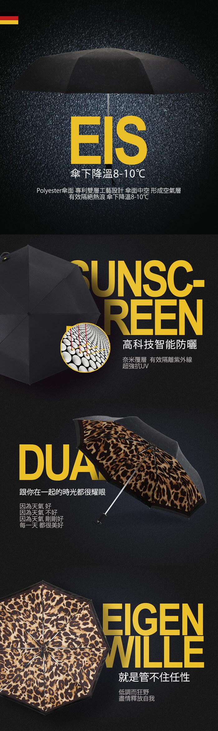 (複製)德國kobold|抗UV零透光智能防曬-經典豹紋遮陽防曬降溫傘 -雙層三折傘-白