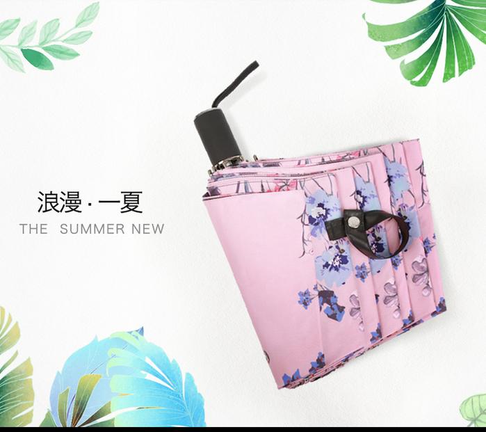 德國kobold|蝶戀花-超輕巧抗UV防曬三折傘-醉顏粉色