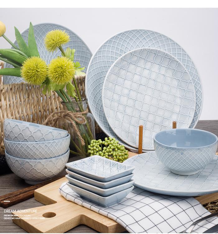 (複製)【JOYYE陶瓷餐具】幾何人生浮雕小腳碗(一套2件)
