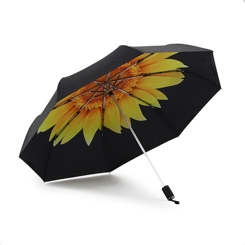 德國kobold 抗UV零透光智能防曬-驚豔系列-遮陽防曬降溫傘 -雙層三折傘-向日葵