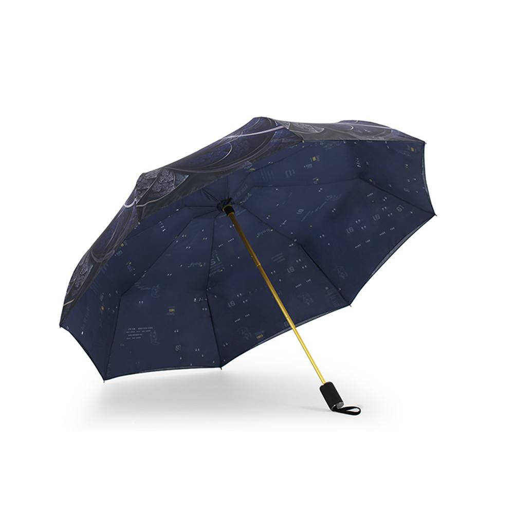 德國kobold 抗UV降溫10-12度-隱形傘骨-萬花鏡遮陽防曬降溫傘 -雙層三折傘-盛開藍