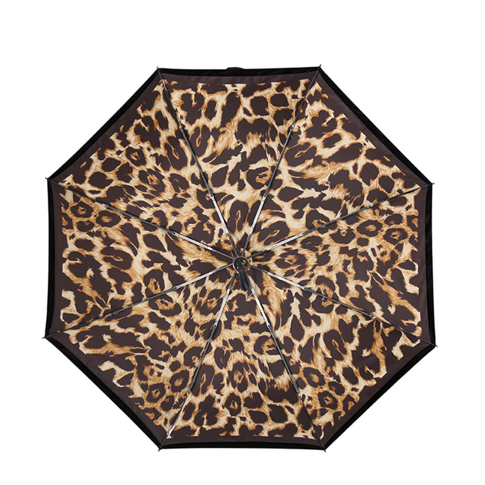 德國kobold|抗UV零透光智能防曬-經典豹紋遮陽防曬降溫傘 -雙層三折傘-咖啡