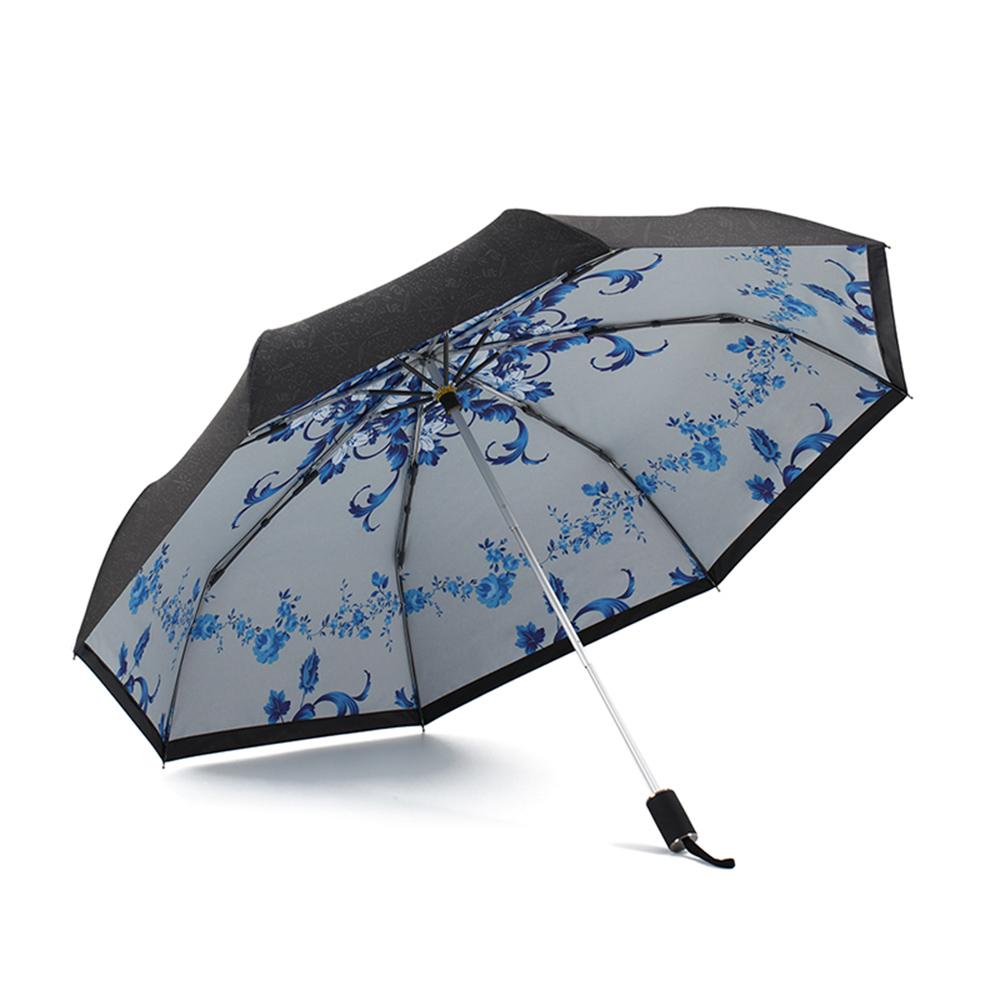 德國kobold 抗UV零透光智能防曬-青花瓷系列-雙層遮陽防曬降溫傘-三折傘-卷草
