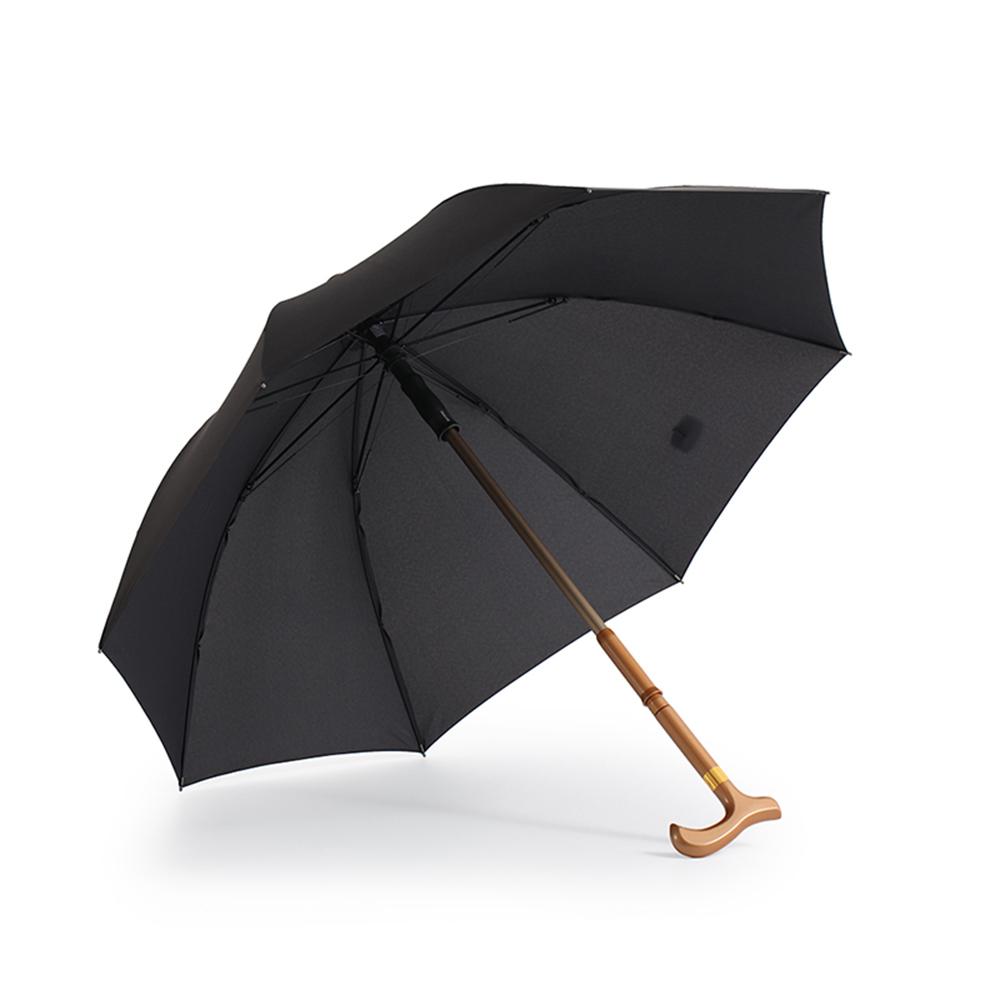 德國kobold|抗UV-雙傘骨輕巧開收-人體工學手把-防滑抗強風拐杖傘-曜石黑
