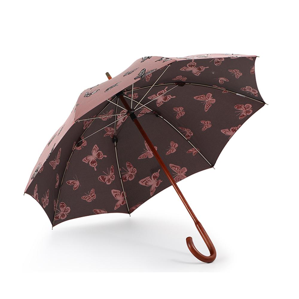 德國kobold|抗UV-紅點設計師-優雅蝴蝶-全楓木手把-經典洋傘 -直柄傘-紅