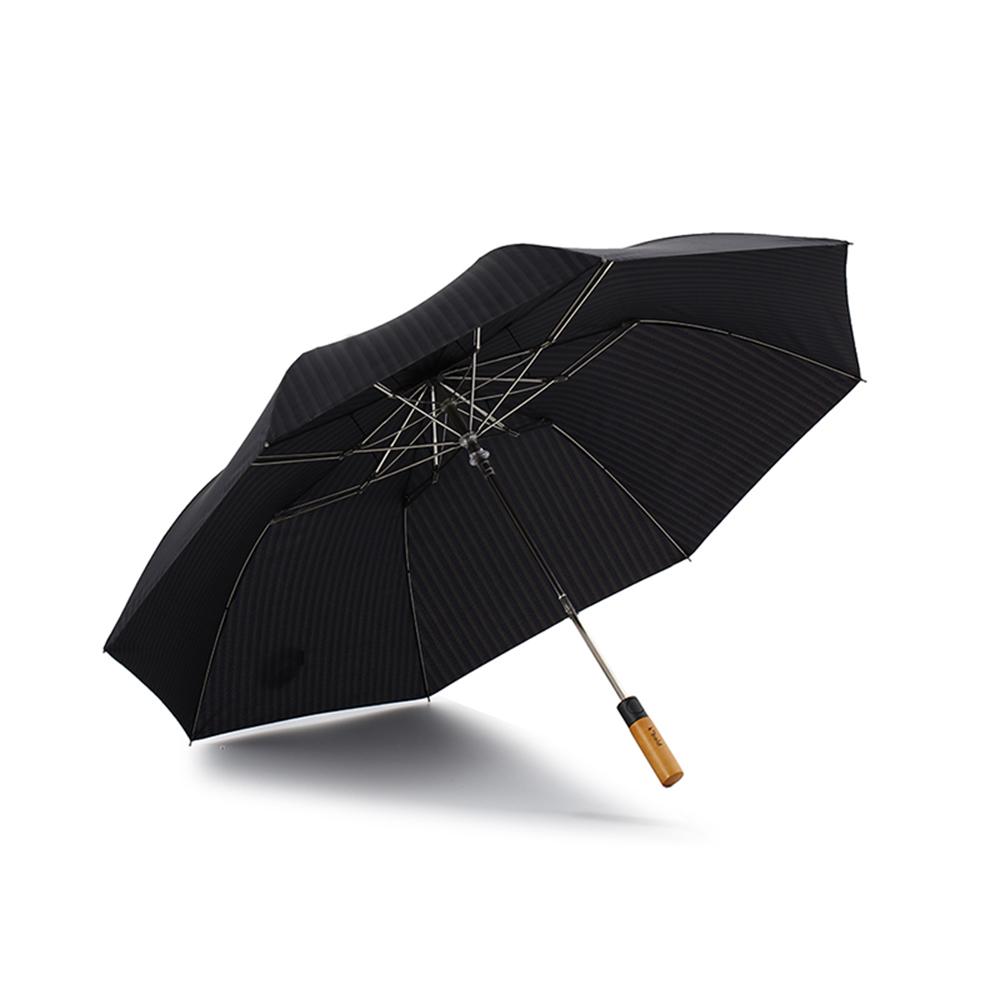 德國kobold|抗UV抗強風經典直紋紳士傘-楓木直頭手柄-三折自動傘-深灰藍