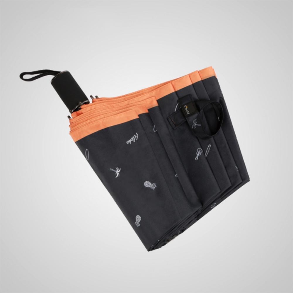 德國kobold 抗UV夏威夷風情-超輕巧 遮陽防曬三折傘-橘色B