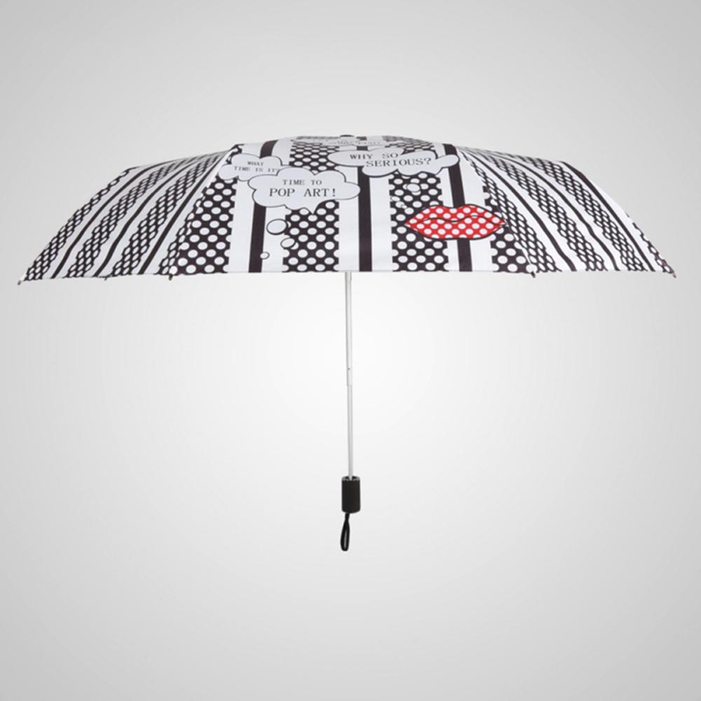 德國kobold 抗UV-波點紅唇-超輕巧-按摩手把-遮陽防曬傘-三折傘-波點紅唇
