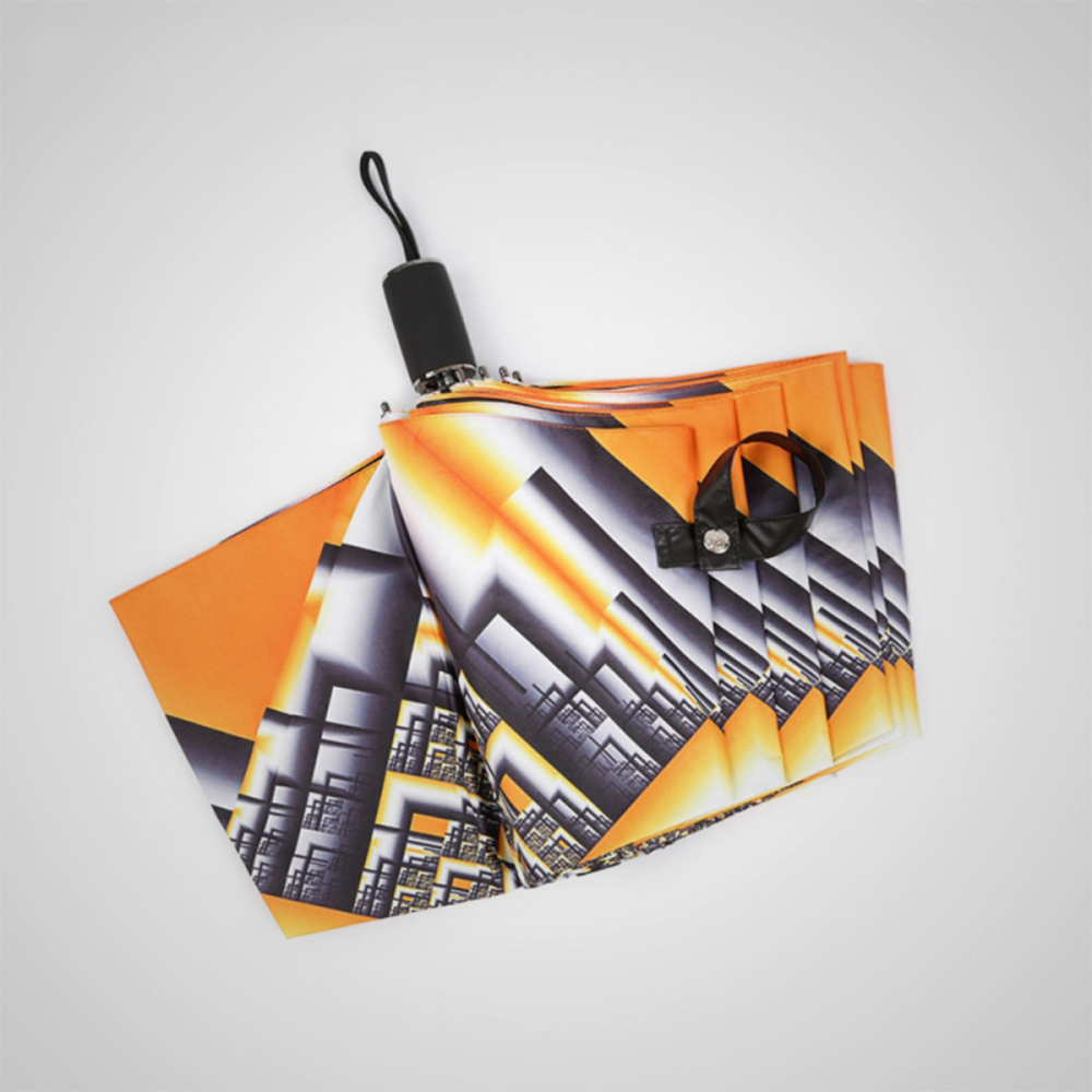 德國kobold 橙幽幻井-超輕巧抗UV防曬三折傘-烈焰橘