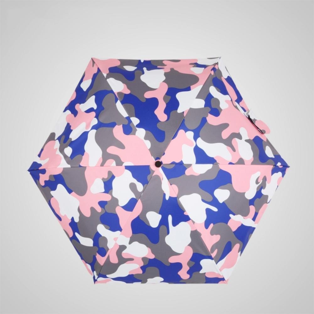 德國kobold 抗UV蘑菇頭系列-6K超輕巧-遮陽防曬五折傘-迷彩藍