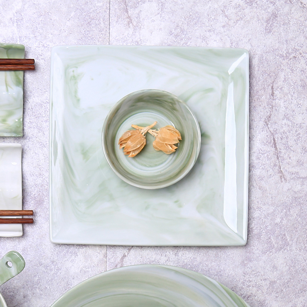 JOYYE陶瓷餐具|畫意四方盤-綠色