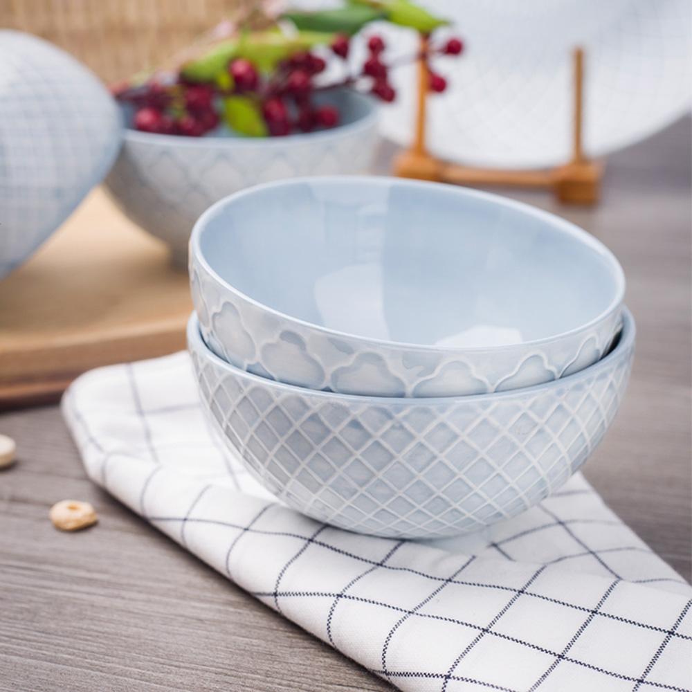 JOYYE陶瓷餐具 幾何人生浮雕小腳碗(一套2件)