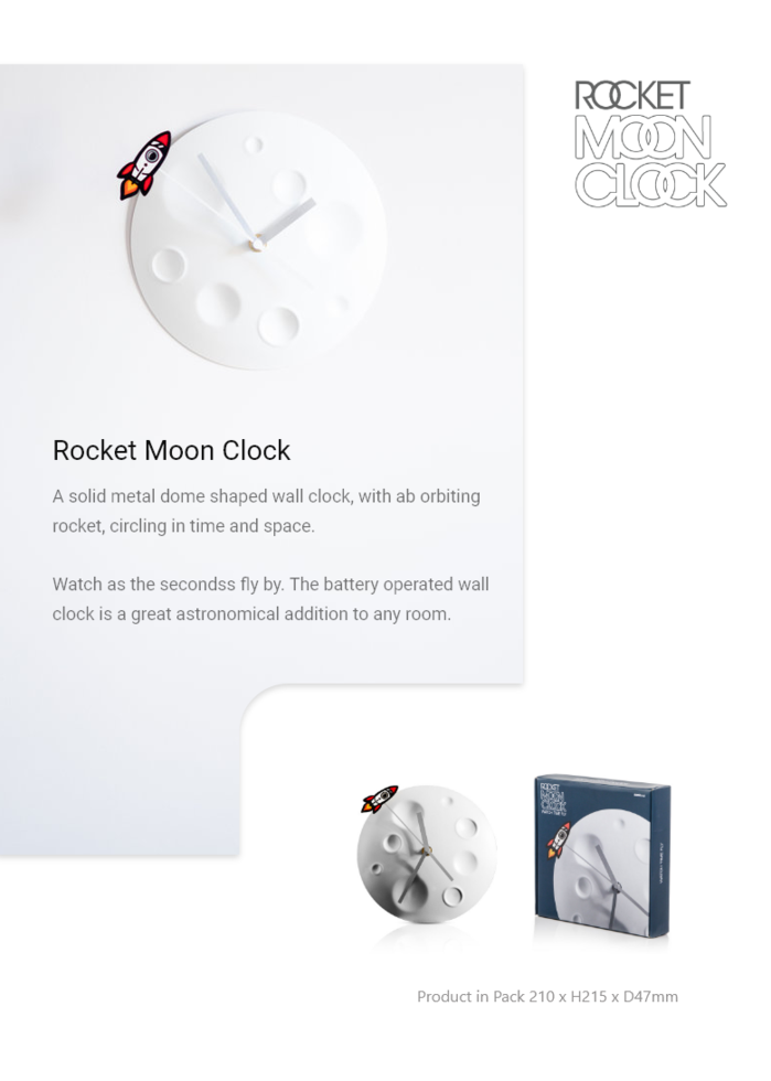 英國 SUCK UK|Rocket Moon Clock
