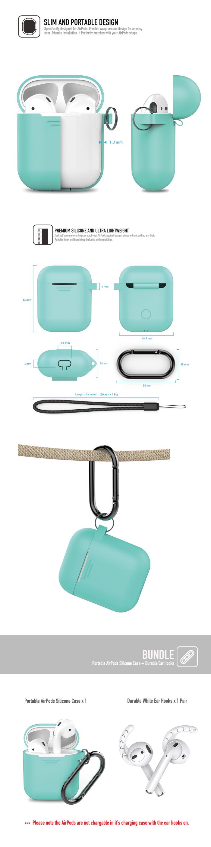 (複製)工具豆|AHAstyle AIRPODS 專用全包覆掛勾保護套(湖水綠)