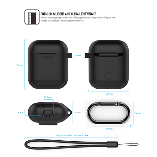 工具豆|AHAstyle AIRPODS 專用全包覆掛勾保護套(黑色)