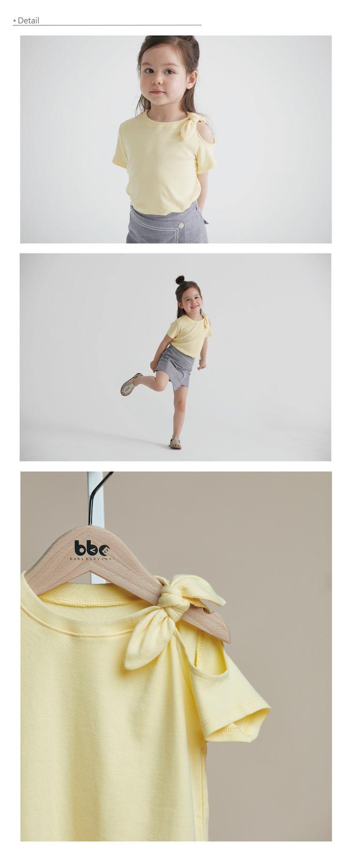 baby baby cool|The gift 肩膀簍空蝴蝶結上衣(黃)