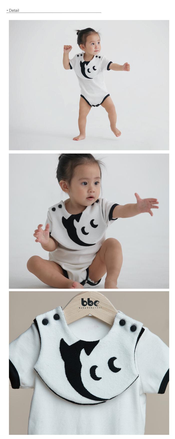 baby baby cool|小精靈雙色圍兜兜包屁衣(黑)