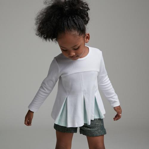 baby baby cool|優雅箱摺長袖上衣(白)