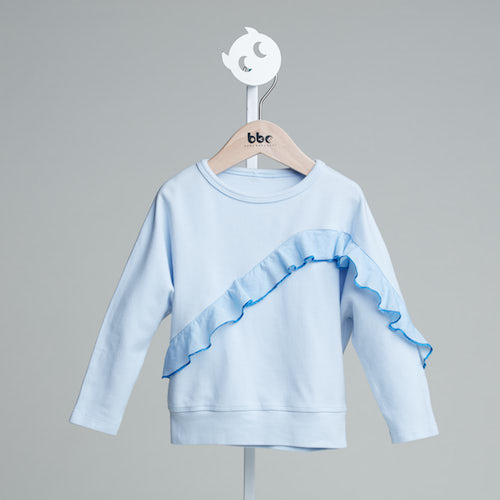 baby baby cool|優雅連袖荷葉上衣(藍)