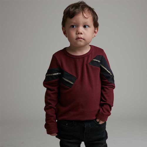 baby baby cool|Rock個性拉鍊拼接上衣(酒紅)