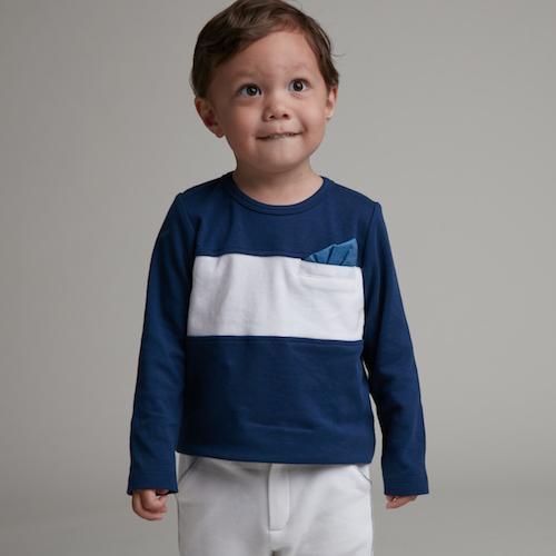 baby baby cool|紳士巾長袖上衣(白)