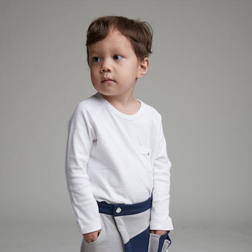 baby baby cool 小精靈口袋長袖(白)