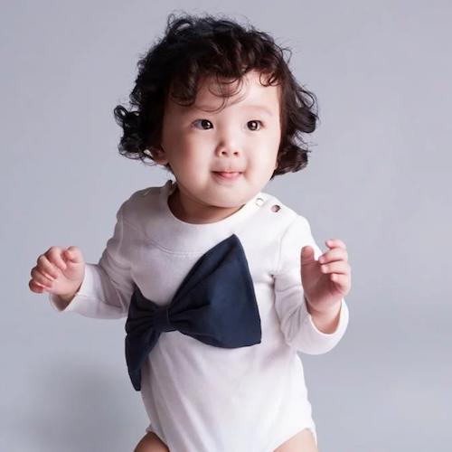 baby baby cool|立體大蝴蝶結包屁衣(深藍)