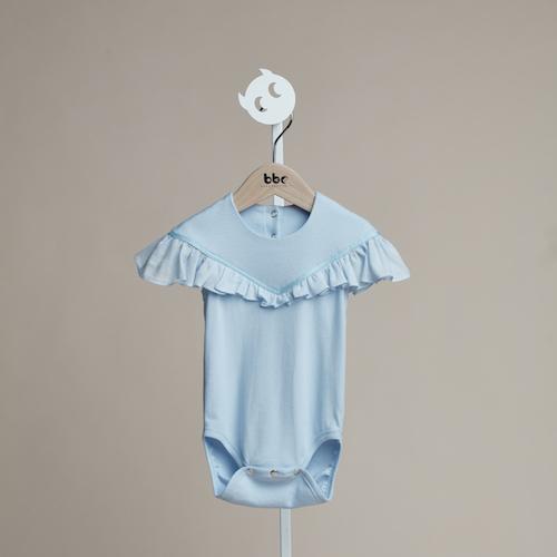 baby baby cool|立體荷葉袖包屁衣(藍)